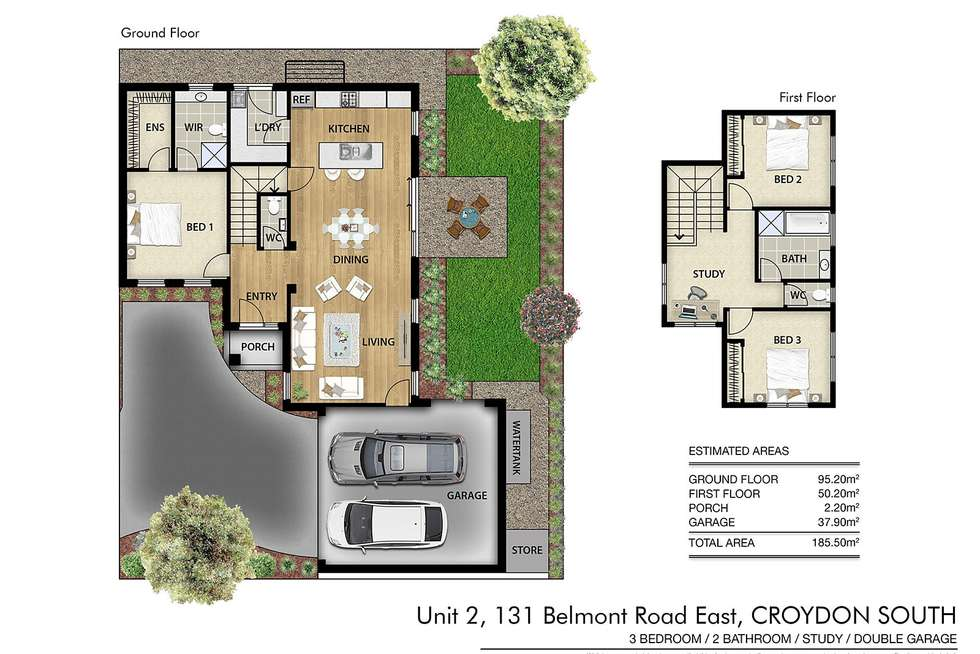 Floorplan of Homely townhouse listing, 131A Belmont Road East, Croydon South VIC 3136