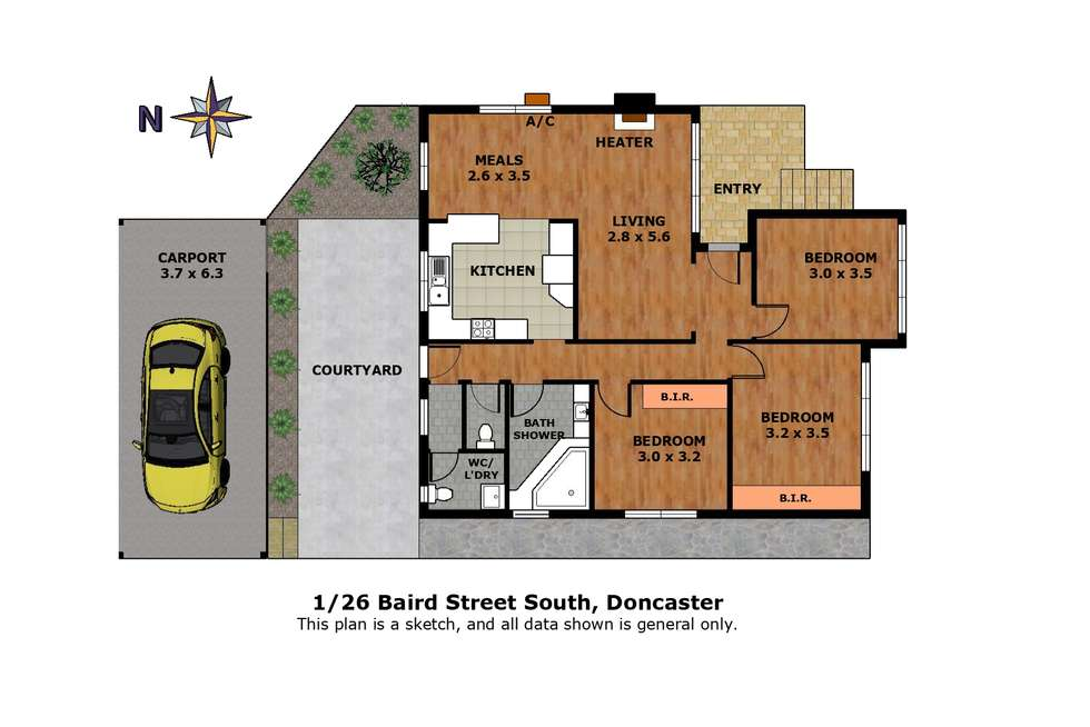 Floorplan of Homely house listing, 1/26 Baird Street North, Doncaster VIC 3108