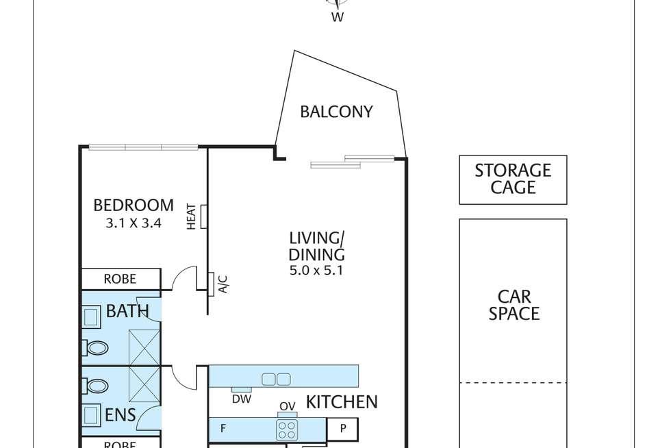 Floorplan of Homely apartment listing, 407/34 Union Street, Brunswick VIC 3056