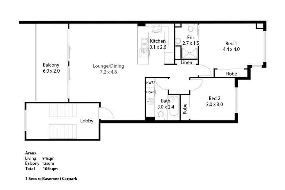 Floorplan of Homely unit listing, 905/33 Clark Street, Biggera Waters QLD 4216