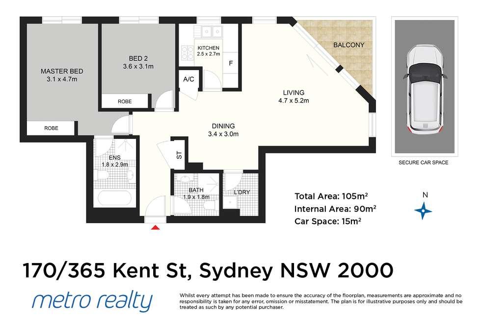 Floorplan of Homely apartment listing, 170/365 Kent St, Sydney NSW 2000