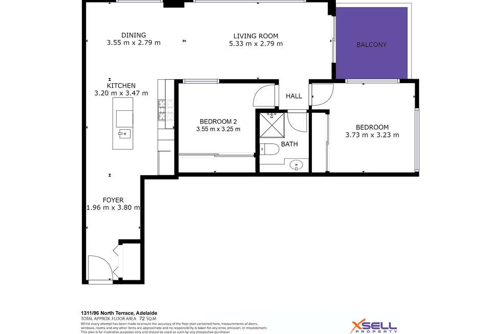 Floorplan of Homely apartment listing, 1311/96 North Terrace, Adelaide SA 5000