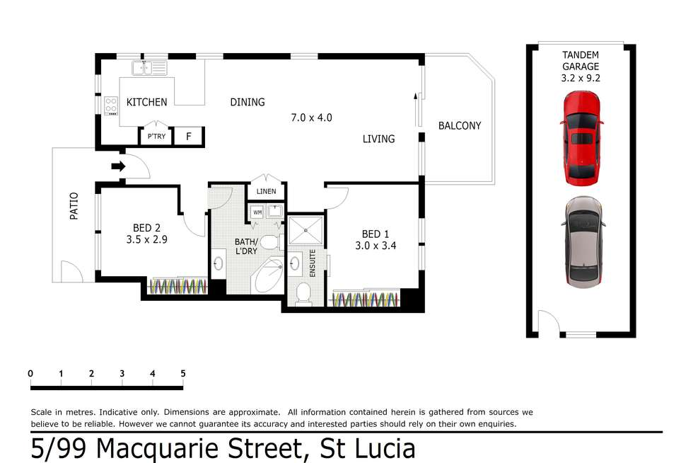 Floorplan of Homely unit listing, 5/99 Macquarie Street, St Lucia QLD 4067