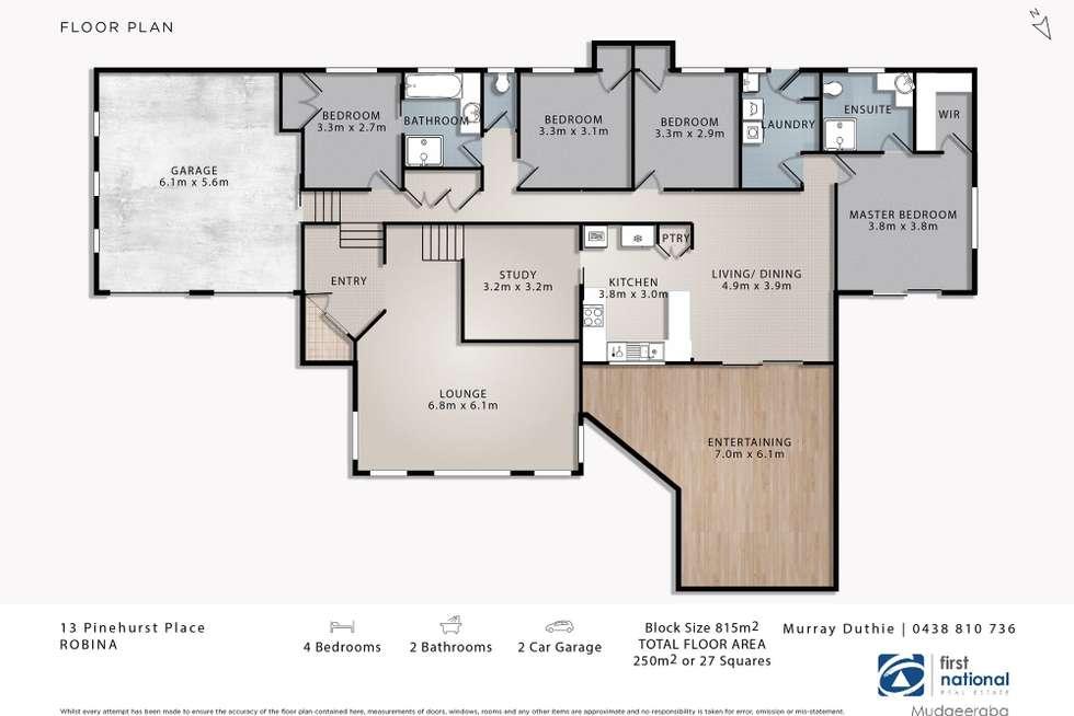 Floorplan of Homely house listing, 13 Pinehurst Place, Robina QLD 4226
