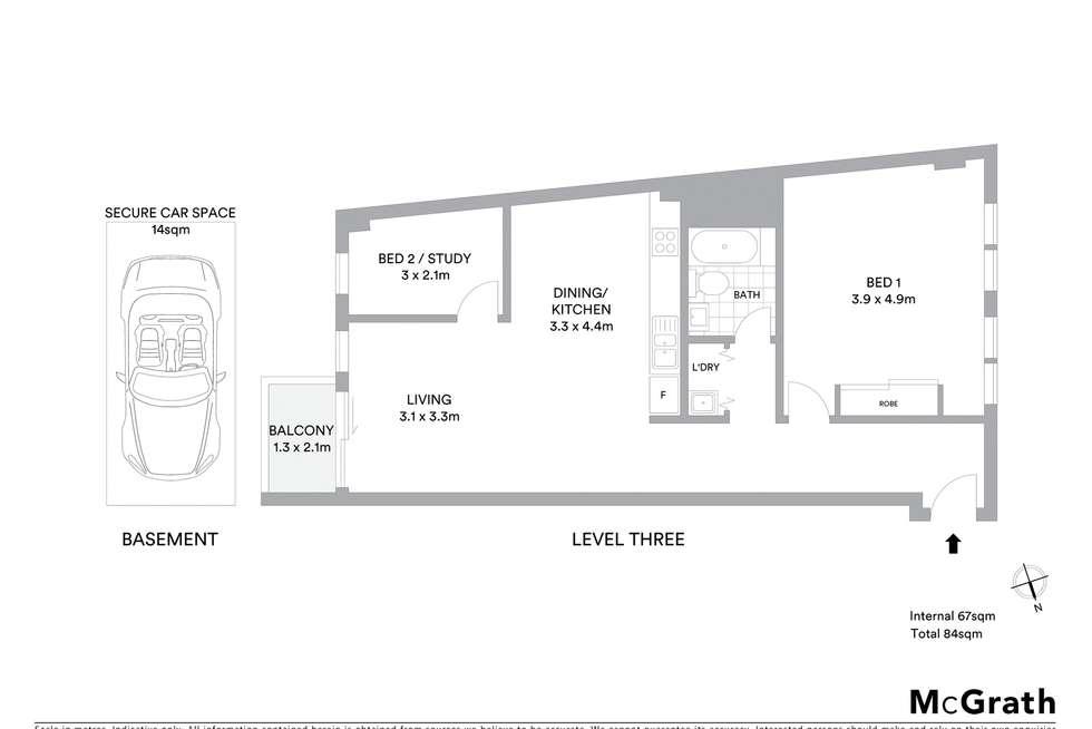 Floorplan of Homely apartment listing, 301/1 Phillip Street, Petersham NSW 2049