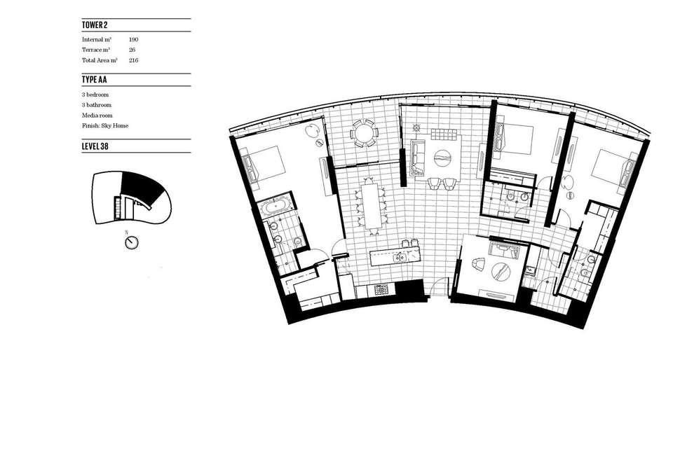 Floorplan of Homely apartment listing, 3802/21 Elizabeth Avenue, Broadbeach QLD 4218