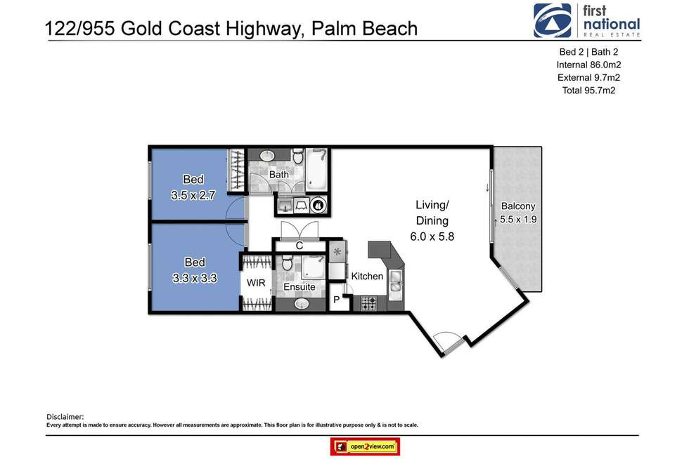 Floorplan of Homely apartment listing, 122/955 Gold Coast Highway, Palm Beach QLD 4221