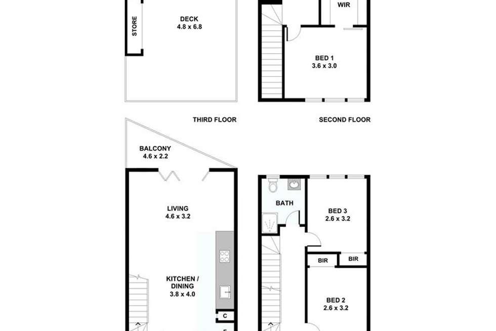 Floorplan of Homely townhouse listing, 14 Yates Lane, Parkville VIC 3052