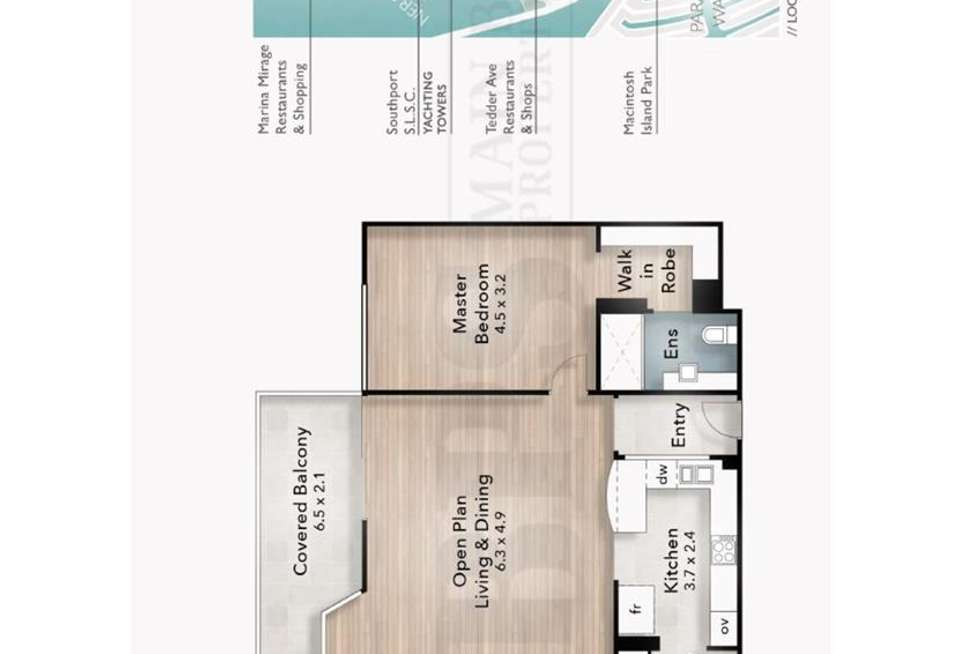 Floorplan of Homely apartment listing, 'YACHTING TOWERS' 18 Macarthur Parade, Main Beach QLD 4217
