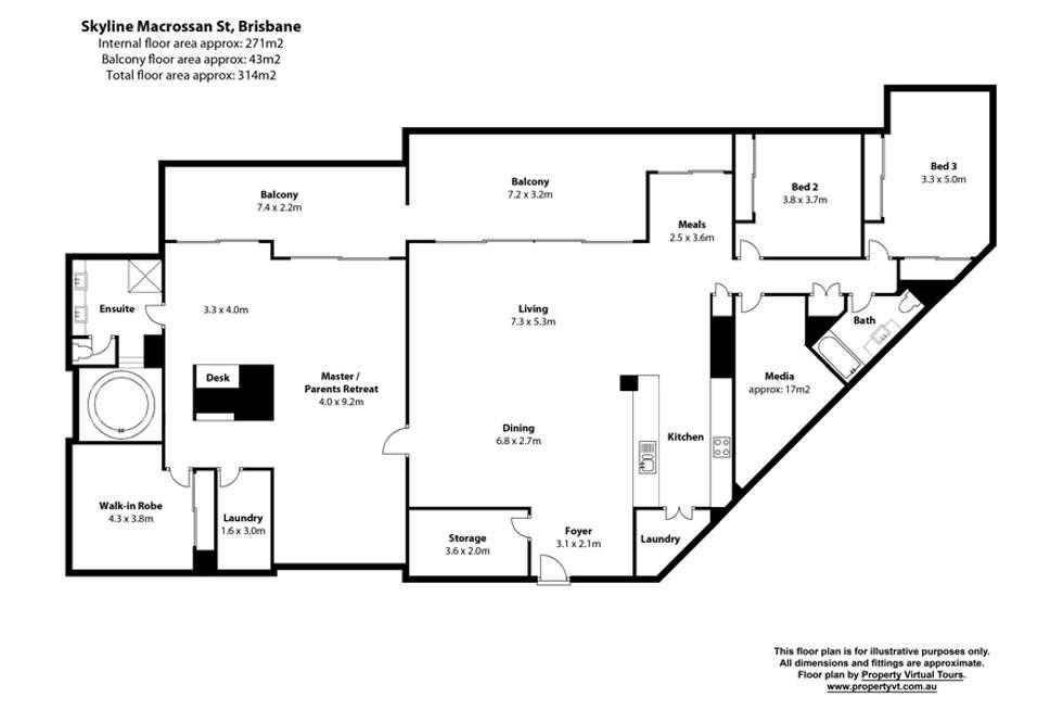 Floorplan of Homely apartment listing, 412/30 Macrossan Street, Brisbane City QLD 4000