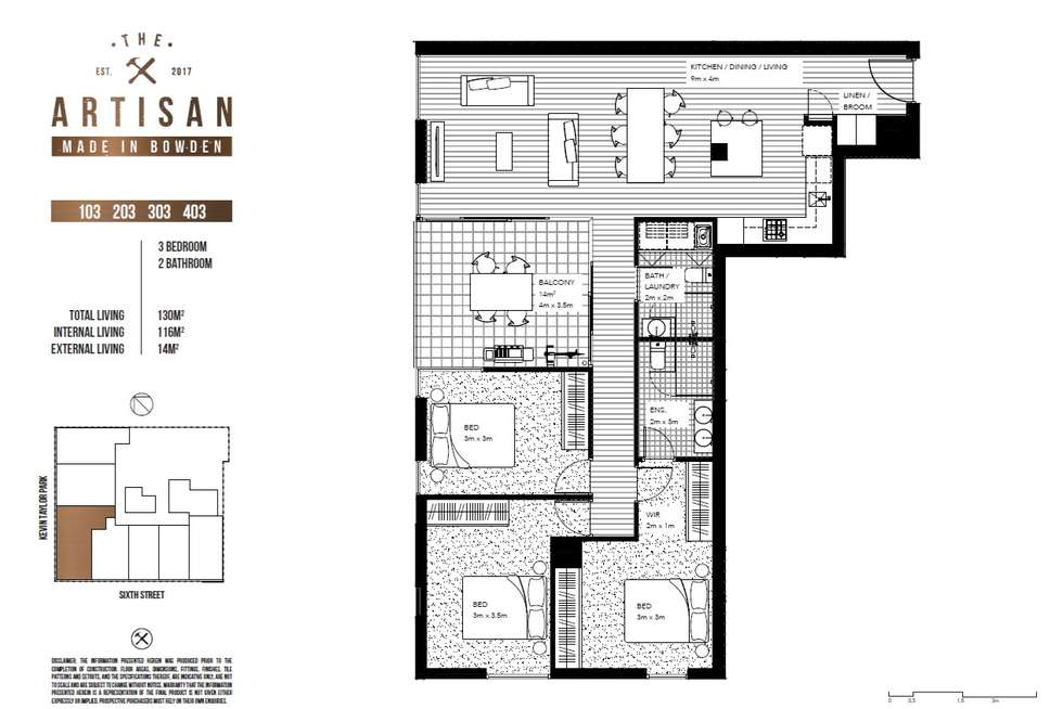 Floorplan of Homely apartment listing, The Artisan 203/3 Fifth Street, Bowden SA 5007