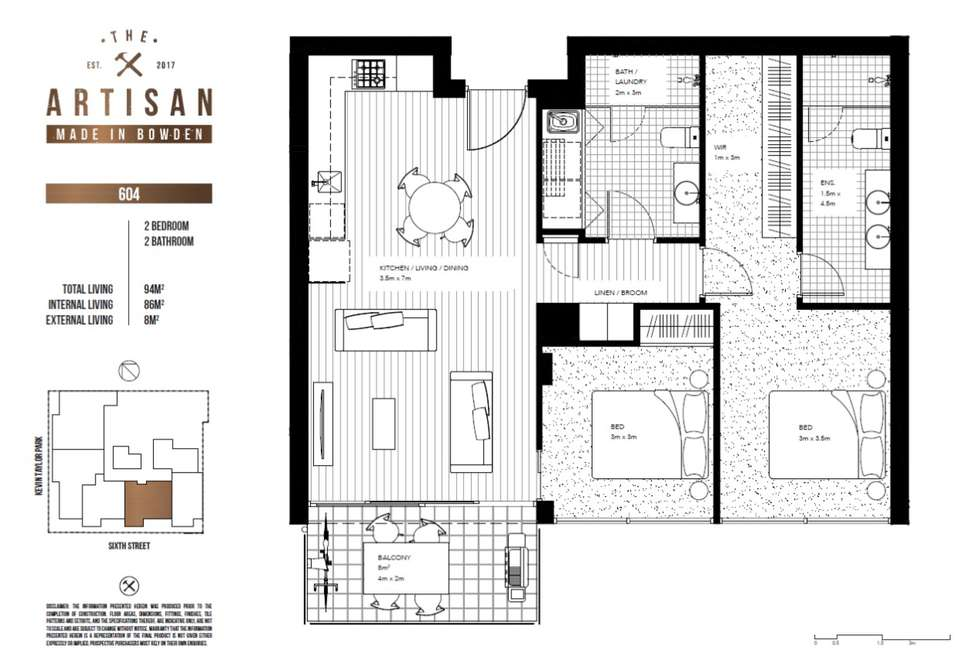 Floorplan of Homely apartment listing, The Artisan 604/3 Fifth Street, Bowden SA 5007