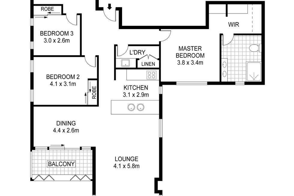 Floorplan of Homely apartment listing, 1701, 10 Balfours Way, Adelaide SA 5000