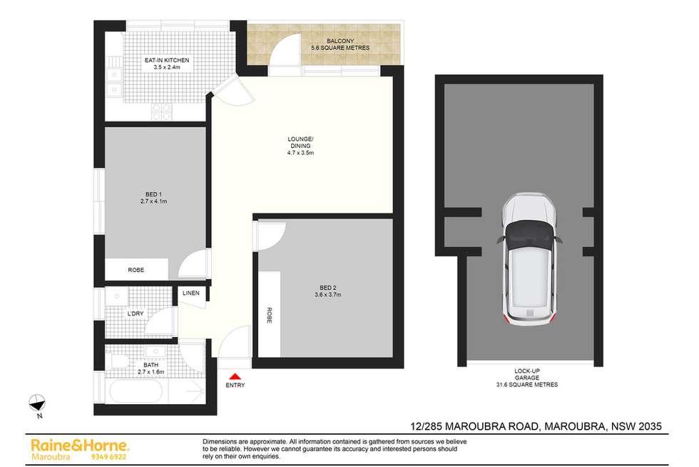 Floorplan of Homely apartment listing, 12/285 MAROUBRA ROAD, Maroubra NSW 2035