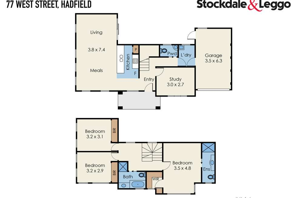 Floorplan of Homely townhouse listing, 77 West Street, Hadfield VIC 3046
