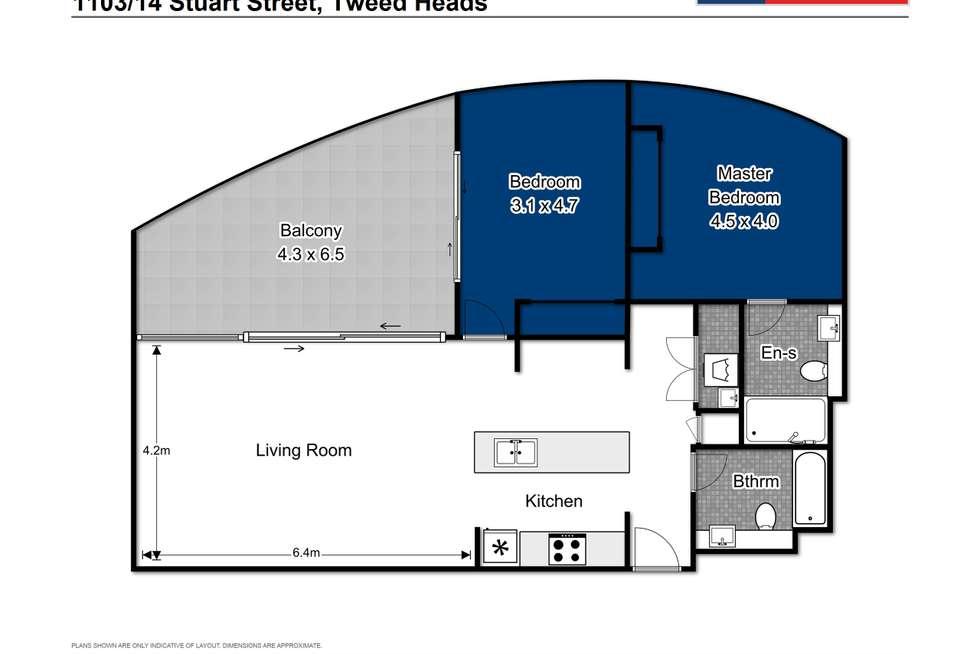 Floorplan of Homely unit listing, 1103/14 Stuart Street, Tweed Heads NSW 2485