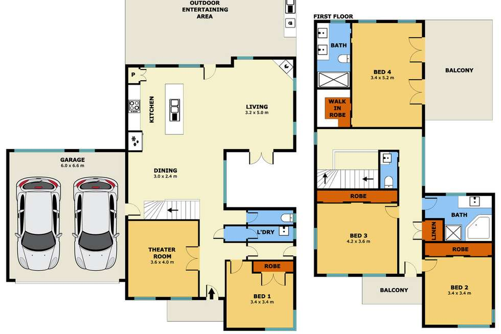 Floorplan of Homely house listing, 6 Dobell Crescent, Caroline Springs VIC 3023