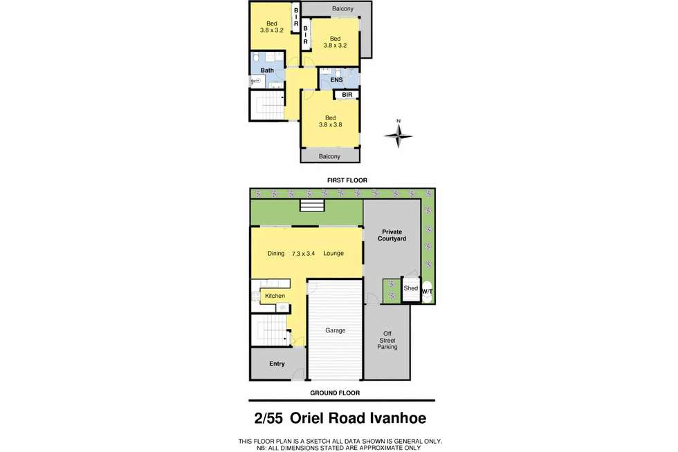 Floorplan of Homely townhouse listing, 2/55 Oriel Road, Ivanhoe VIC 3079
