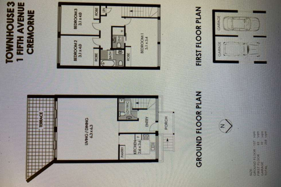 Floorplan of Homely townhouse listing, 3/1 Fifth Avenue, Cremorne NSW 2090