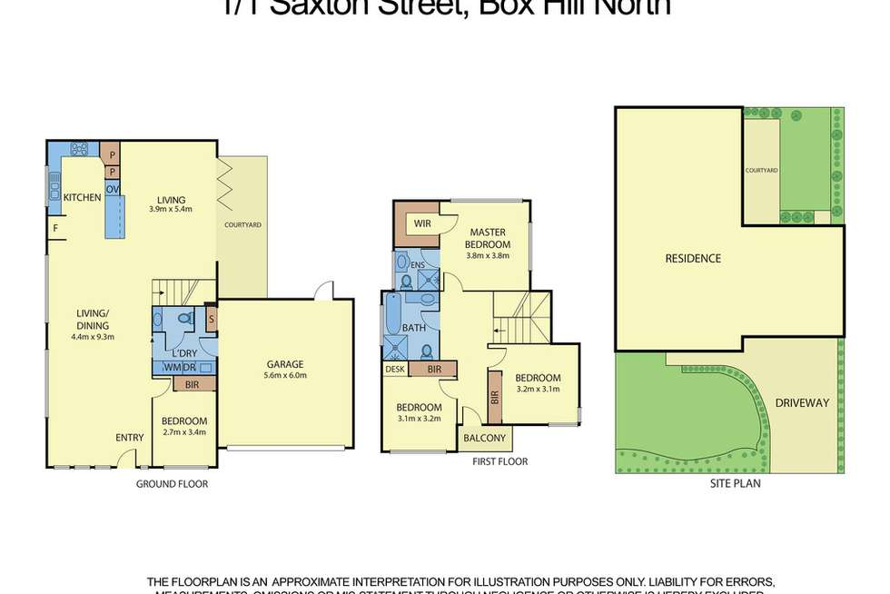 Floorplan of Homely townhouse listing, 1/1 Saxton Street, Box Hill North VIC 3129