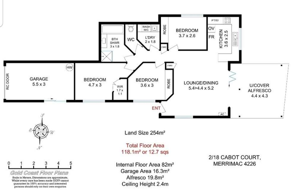 Floorplan of Homely semiDetached listing, 2/18 Cabot Court, Merrimac QLD 4226