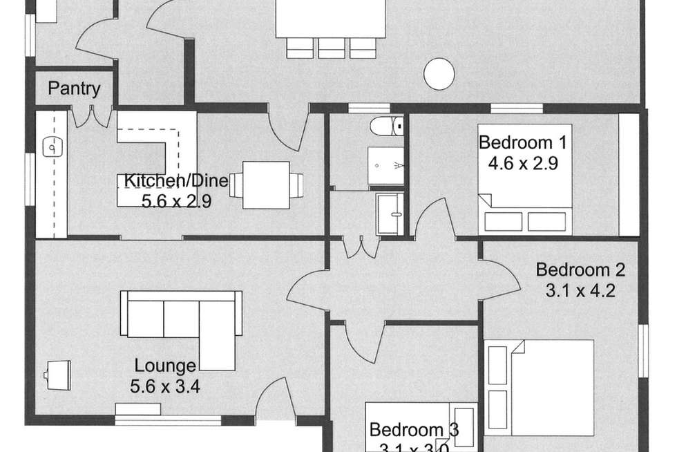 Floorplan of Homely house listing, 1 ASH GROVE, Lucindale SA 5272