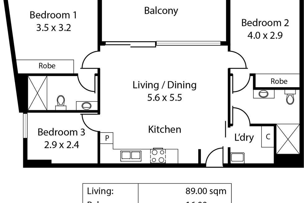 Floorplan of Homely apartment listing, 1905/180 Franklin Street, Adelaide SA 5000