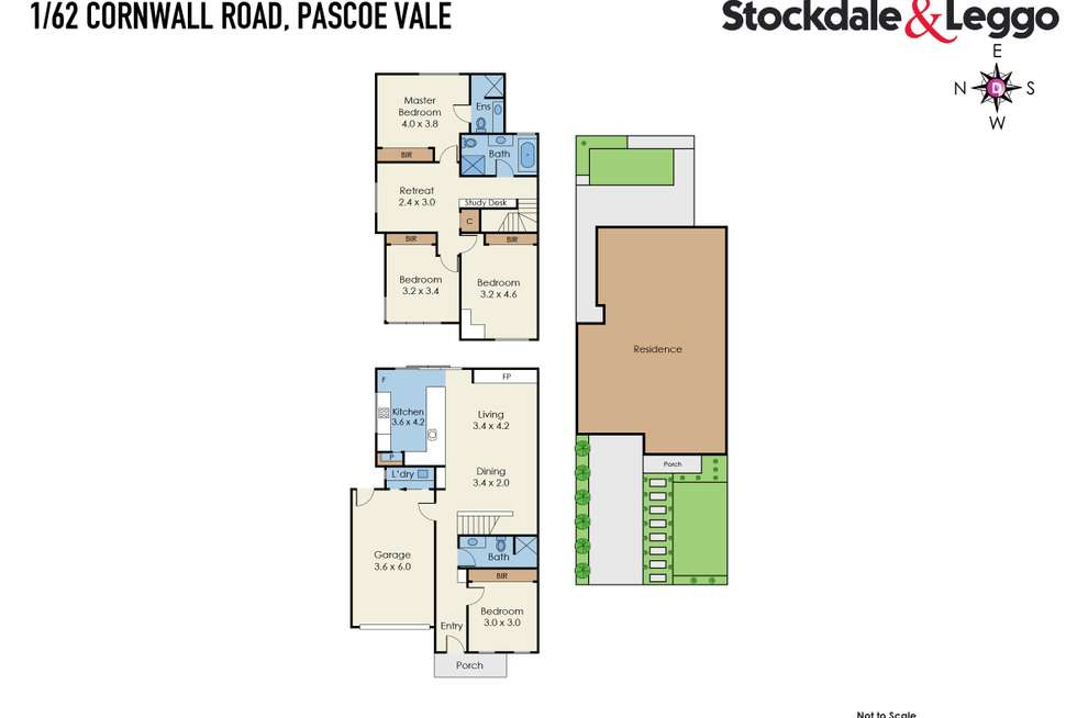 Floorplan of Homely townhouse listing, 1/62 Cornwall Road, Pascoe Vale VIC 3044