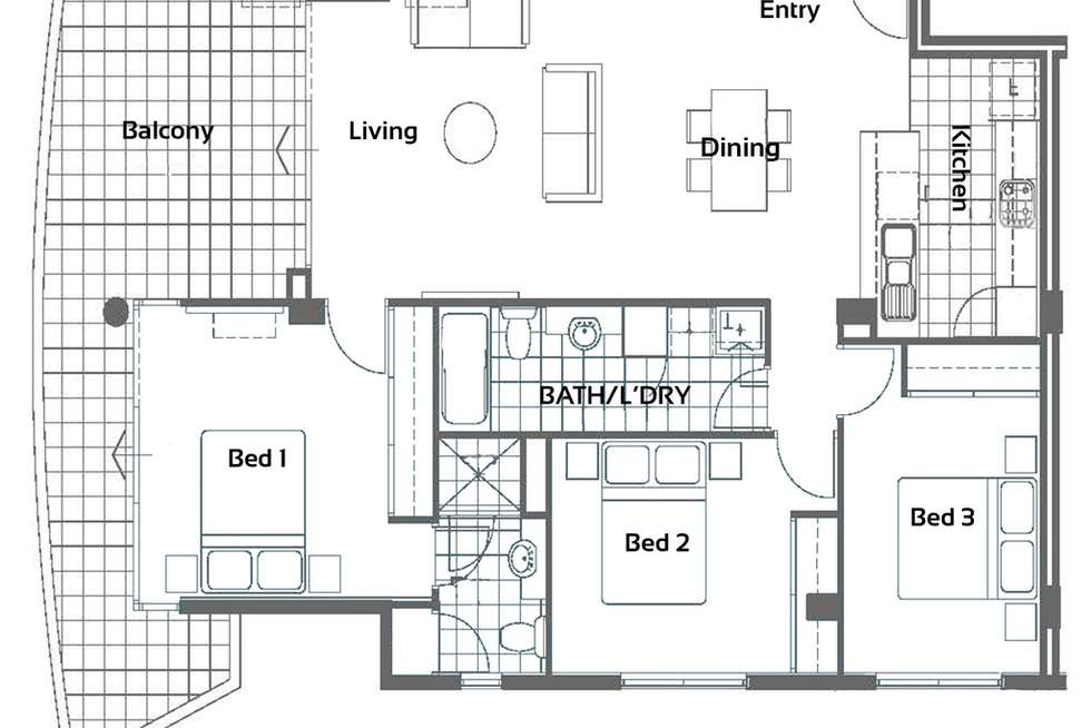 Floorplan of Homely apartment listing, 190/143 Adelaide Terrace, East Perth WA 6004