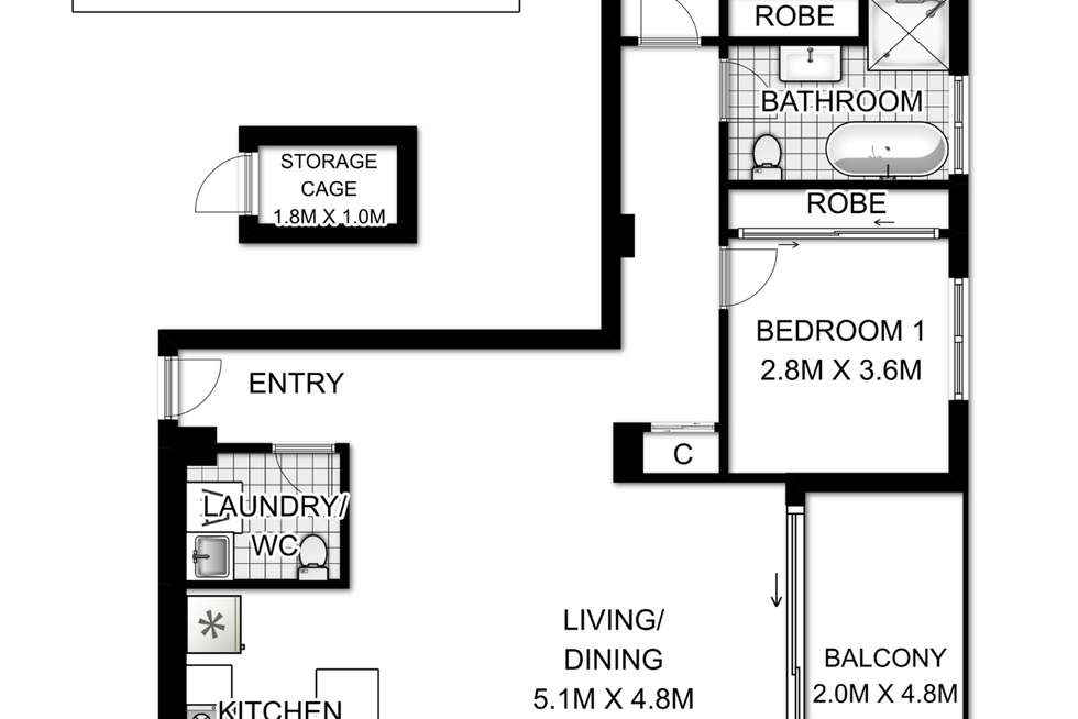 Floorplan of Homely unit listing, 407/465 Chapel Road, Bankstown NSW 2200