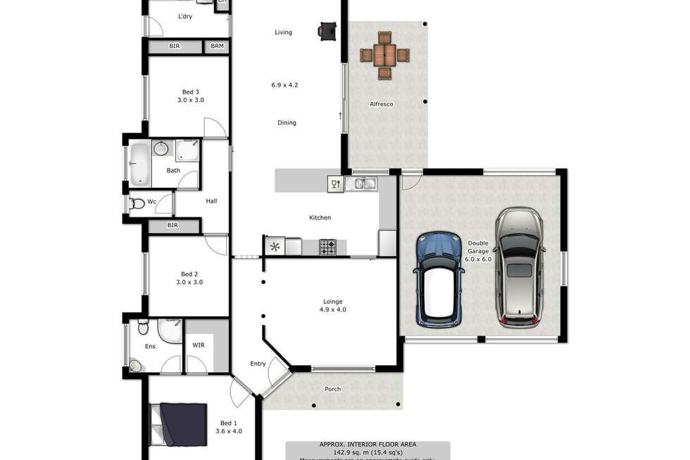 Floorplan of Homely house listing, 3 Saunders Crescent, Wodonga VIC 3690