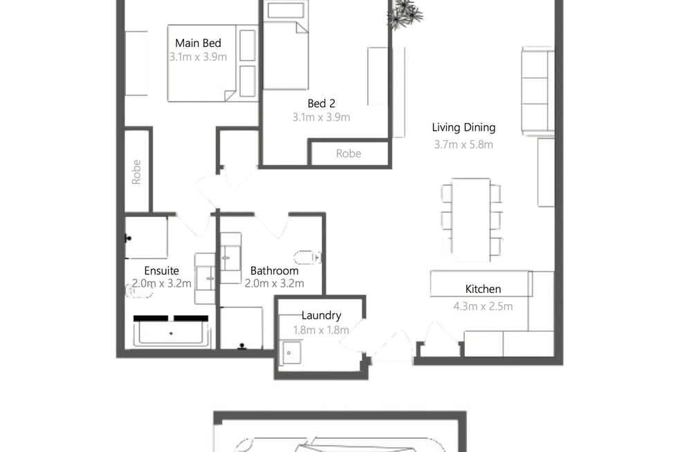 Floorplan of Homely apartment listing, 105/804 Bourke Street, Waterloo NSW 2017