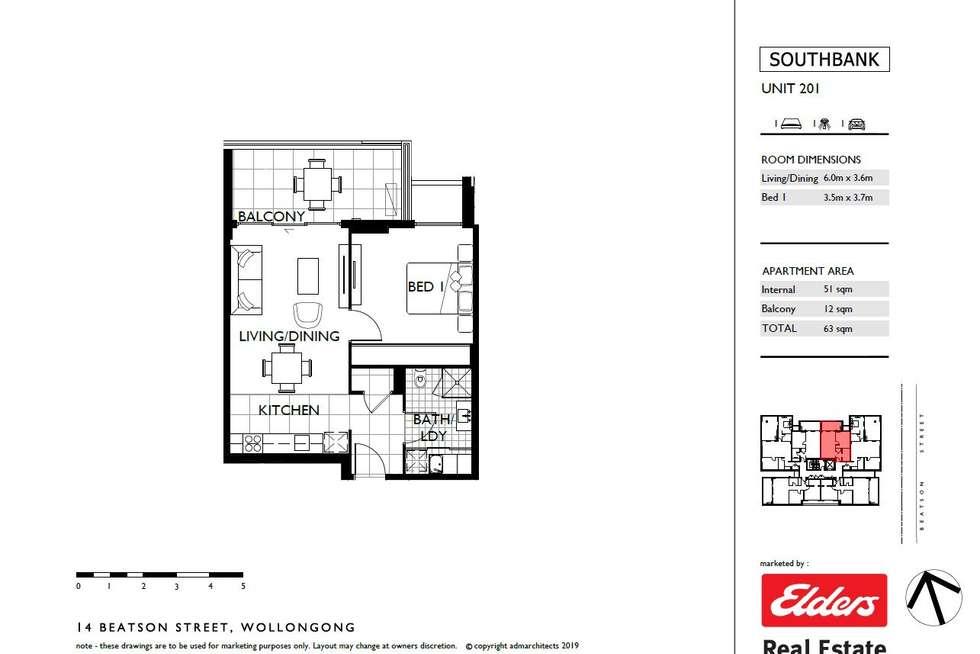 Floorplan of Homely unit listing, 201/14 Beatson Street, Wollongong NSW 2500