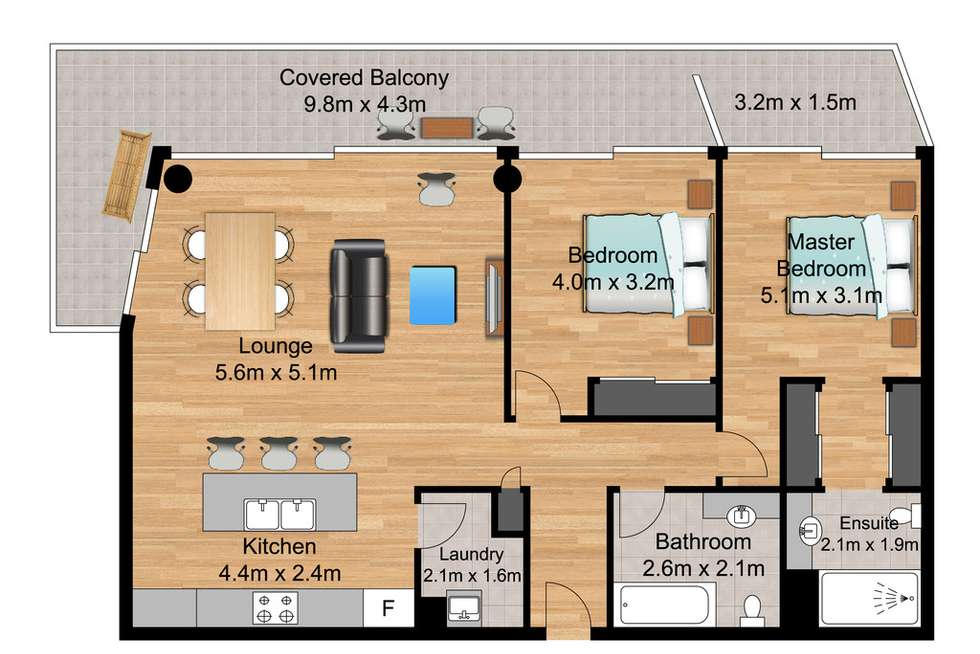 Floorplan of Homely apartment listing, 302/3018 Surfers Paradise Boulevard, Surfers Paradise QLD 4217