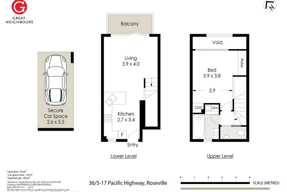 Floorplan of Homely apartment listing, 36/5-17 Pacific Highway, Roseville NSW 2069