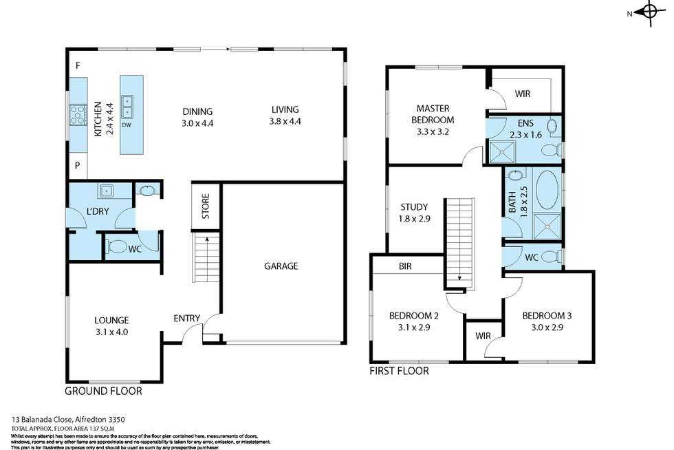 Floorplan of Homely house listing, 13 Balanada Close, Alfredton VIC 3350