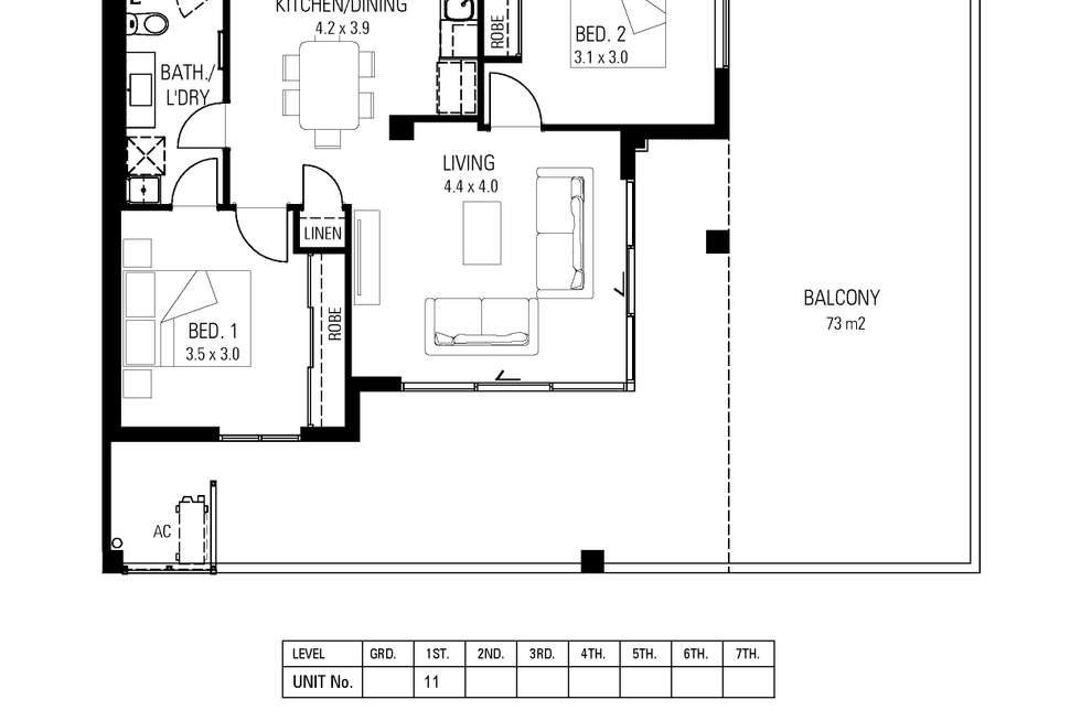 Floorplan of Homely apartment listing, 11/34 East Parade, East Perth WA 6004