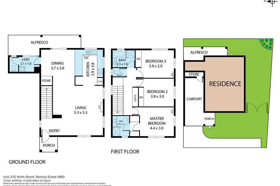 Floorplan of Homely townhouse listing, 2/12 Ninth Street, Railway Estate QLD 4810