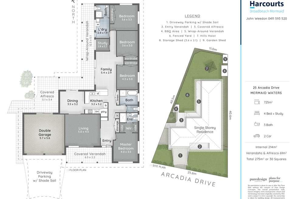 Floorplan of Homely house listing, 25 Arcadia Drive, Mermaid Waters QLD 4218