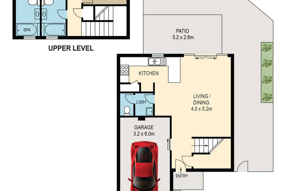 Floorplan of Homely townhouse listing, 3/74A Sir Fred Schonell Drive, St Lucia QLD 4067