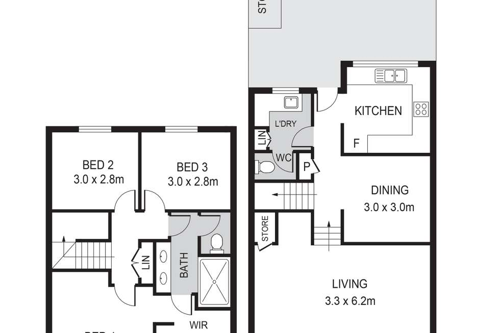 Floorplan of Homely townhouse listing, 7/185 Labouchere Road, Como WA 6152