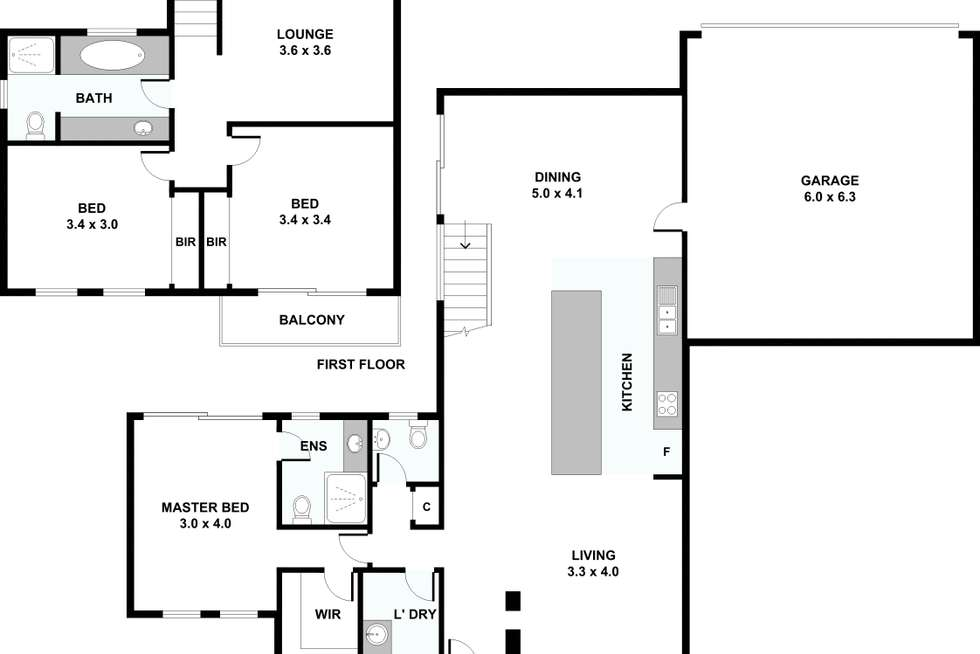 Floorplan of Homely townhouse listing, 1/81 Mitchell Street, Maidstone VIC 3012
