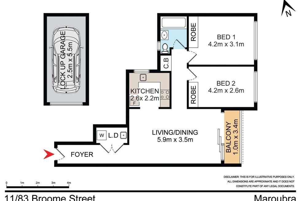 Floorplan of Homely unit listing, 11/83 Broome Street, Maroubra NSW 2035