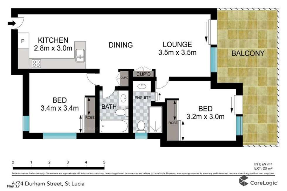 Floorplan of Homely apartment listing, 6/74 Durham Street, St Lucia QLD 4067