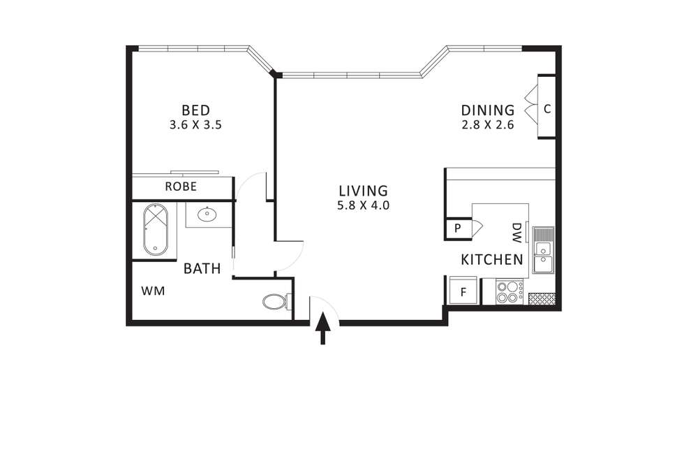 Floorplan of Homely apartment listing, 14/50 Bourke Street, Melbourne VIC 3000