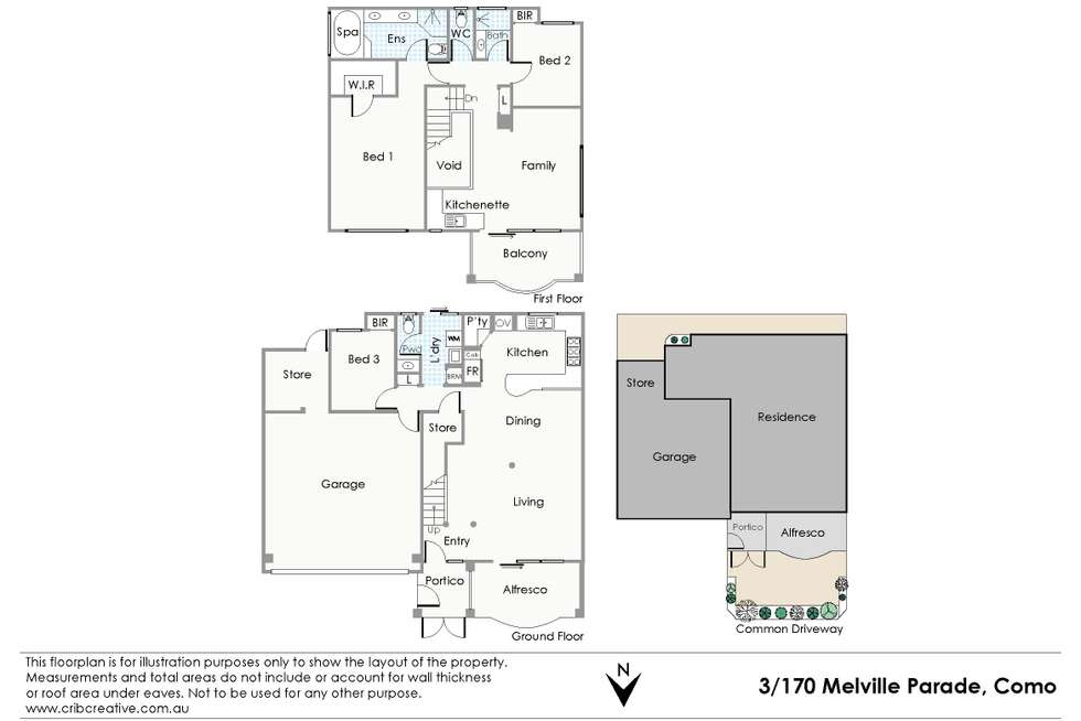 Floorplan of Homely townhouse listing, 3/170 Melville Parade, Como WA 6152