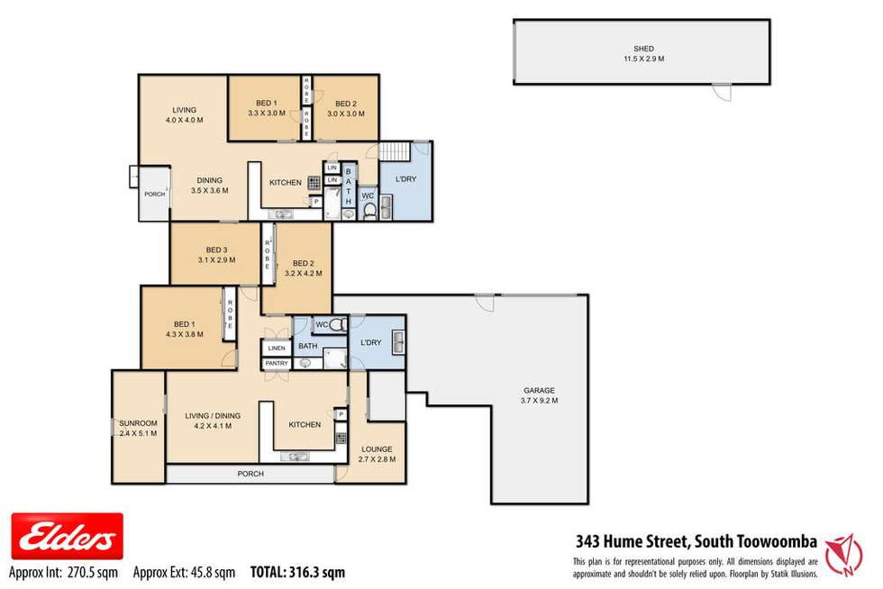 Floorplan of Homely semiDetached listing, 343 Hume Street, South Toowoomba QLD 4350