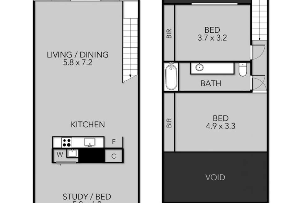 Floorplan of Homely apartment listing, 122/1-3 Dods St, Brunswick VIC 3056