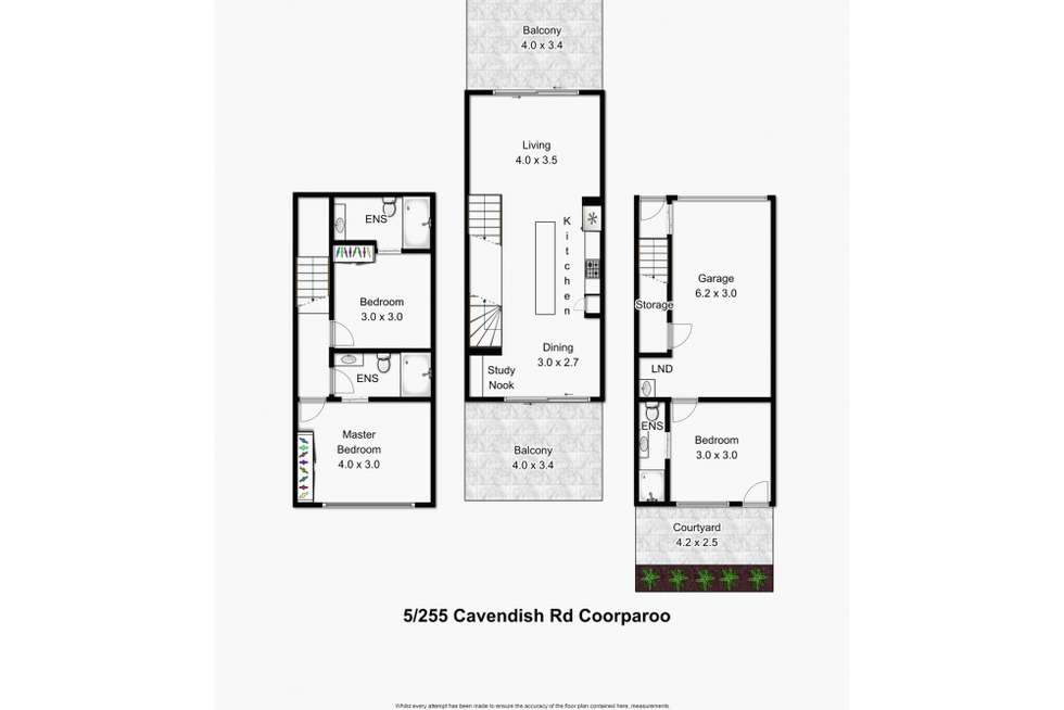 Floorplan of Homely townhouse listing, 1/255 Cavendish Road, Coorparoo QLD 4151