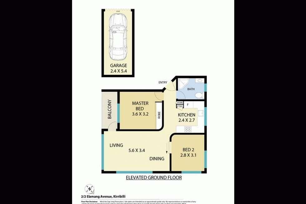 Floorplan of Homely apartment listing, 2/2 Elamang Avenue, Kirribilli NSW 2061